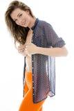 Mujer joven sensual atractiva que presenta a Pin Up With Her Shirt abierto Foto de archivo libre de regalías