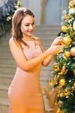 Mujer joven sensual en un vestido de noche elegante rosado que permanece en un pasillo elegante y que viste para arriba un árbol  fotografía de archivo