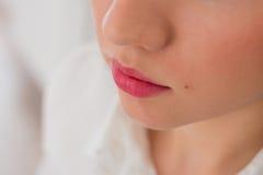 Mujer joven sensual que aplica los cosméticos en sus labios Imágenes de archivo libres de regalías
