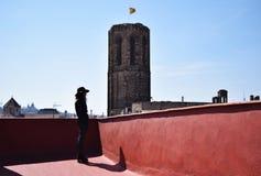 Mujer joven sola en sombrero marrón del pensamiento trasero en el  e, Barcelona del terraÑ Imagenes de archivo