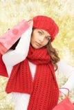 Mujer joven sonriente con los bolsos de compras Imagen de archivo libre de regalías