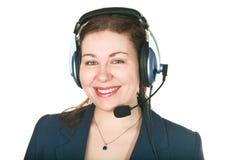 Mujer joven sonriente del operador de la llamada Fotografía de archivo