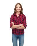 Mujer joven sonriente en ropa casual Fotografía de archivo libre de regalías
