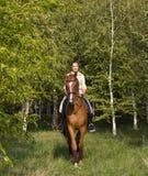Muchacha sonriente hermosa que monta un caballo marrón a través de arbolado Fotos de archivo