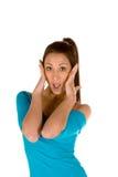 Mujer joven sorprendida Foto de archivo libre de regalías
