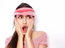 Mujer joven sorprendida con la boca abierta Imágenes de archivo libres de regalías