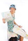 Mujer joven sorprendida que mira en correspondencia Fotografía de archivo