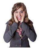 Mujer joven sorprendida y emocionada Imágenes de archivo libres de regalías
