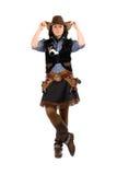 Mujer vestida como vaquero Imagen de archivo libre de regalías