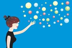 Mujer joven y bolas ilustración del vector
