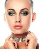 Mujer joven y diamantes Imagen de archivo libre de regalías