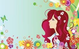Mujer joven y flores Imagen de archivo libre de regalías
