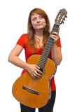 Mujer joven y guitarra Imágenes de archivo libres de regalías