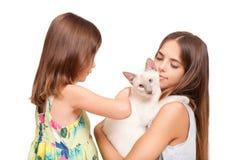 Mujer joven y niño con el gato Fotos de archivo