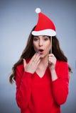 Mujer juguetona de la Navidad imagen de archivo