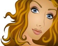 Mujer larga del pelo rizado de Brown ilustración del vector