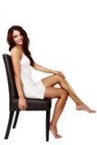 Mujer linda, atractiva en la ropa interior aislada en blanco Imagenes de archivo