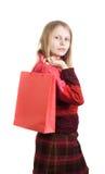 Mujer linda con el bolso de compras Foto de archivo