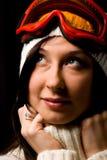 Mujer linda con la máscara del snowboard Fotografía de archivo