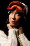 Mujer linda con la máscara del snowboard Foto de archivo libre de regalías