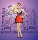 Mujer linda del vector en Drindl en Oktoberfest Imagen de archivo