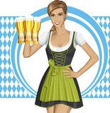 Mujer linda del vector en Drindl en Oktoberfest Fotografía de archivo