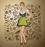 Mujer linda del vector en Drindl en Oktoberfest Foto de archivo libre de regalías