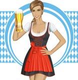 Mujer linda del vector en Drindl en Oktoberfest Fotografía de archivo libre de regalías