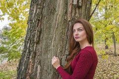 Mujer linda en retrato del otoño fotografía de archivo libre de regalías