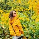 Mujer linda en sudadera con capucha amarilla que camina en bosque del otoño Fotos de archivo