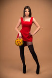 Mujer linda hermosa en vestido rojo Fotografía de archivo
