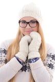 Mujer linda joven atractiva en lentes con el pelo largo en caliente Fotografía de archivo
