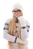 Mujer linda joven en lentes con el pelo largo hermoso en caliente Imágenes de archivo libres de regalías