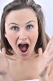 Mujer linda que grita Fotos de archivo