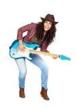 Mujer linda que toca la guitarra eléctrica Foto de archivo libre de regalías