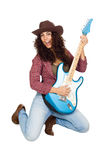 Mujer linda que toca la guitarra eléctrica Imagen de archivo libre de regalías