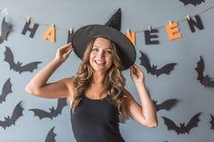 Mujer lista para Halloween Imagenes de archivo