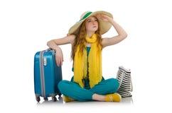 Mujer lista para las vacaciones de verano fotografía de archivo libre de regalías