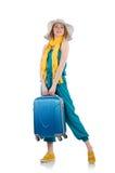 Mujer lista para las vacaciones de verano aisladas Imágenes de archivo libres de regalías