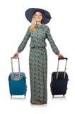 Mujer lista para las vacaciones de verano aisladas Imagen de archivo