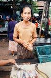 mujer local que vende pescados y las anguilas en el mercado del pueblo fotos de archivo