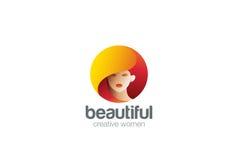 Mujer Logo Fashion del salón del peluquero de la belleza Foto de archivo
