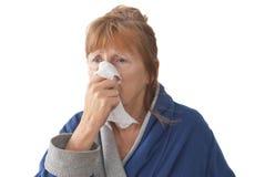 Mujer madura con frío Foto de archivo