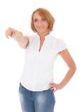 Mujer madura que señala con el finger Imagenes de archivo