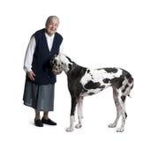 Mujer madura que se coloca con el perro del gran danés Foto de archivo libre de regalías