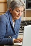 Mujer madura que trabaja en el ordenador Imagenes de archivo