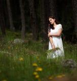 Mujer magnífica en el bosque Fotografía de archivo