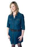 Mujer magnífica en equipo azul atractivo fotos de archivo