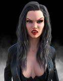 Mujer malvada atractiva del vampiro de Halloween Foto de archivo