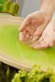 Mujer \ 'manos de s en líquido verde en el balneario Foto de archivo libre de regalías